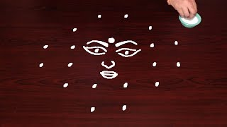 DURGA RANGOLI DESIGNS WITH 6X2X2 DOTS FOR DUSSEHRA SPECIAL USE SIEVE FOR BEST DESIGN RANGOLIS