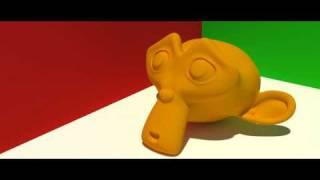 Yafaray Blender 3D monkey GI blender global illumination