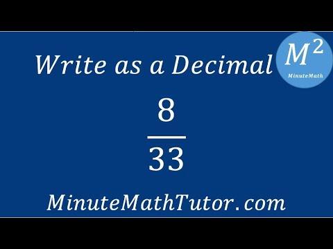 Write As A Decimal 8 33