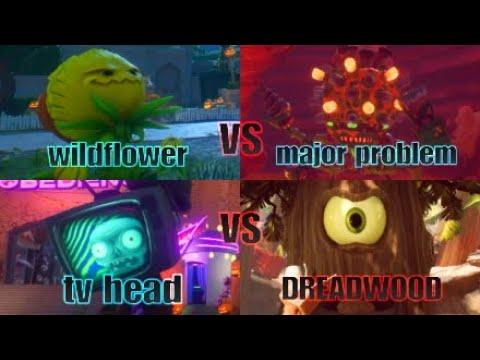 Wildflower vs major problem and tv head vs dreadwood gameplay! [pvz bfn]