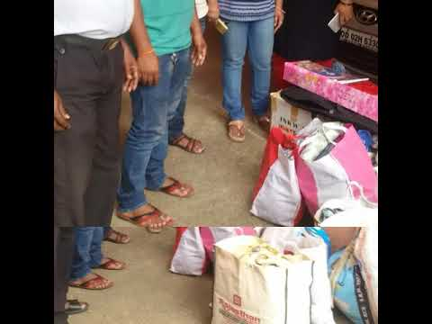 Old cloth distribution. .slum area