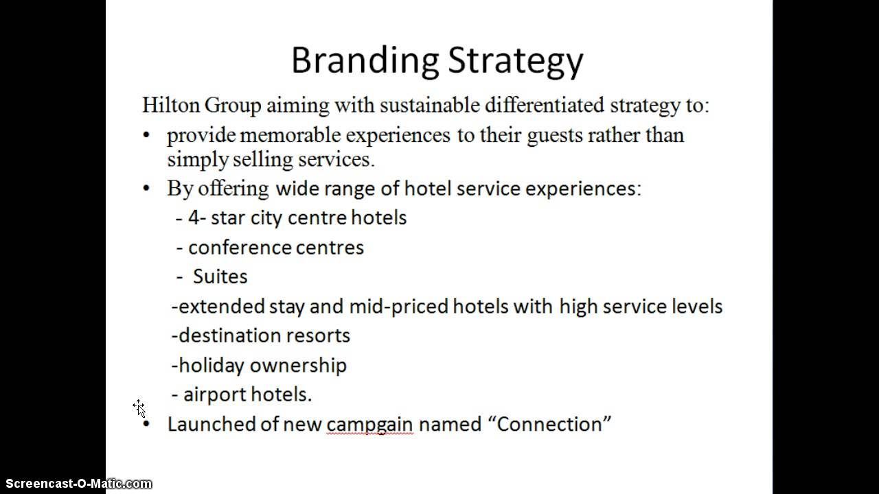 the hilton hotel marketing strategy Marketing of hilton hotel corporation print reference this  disclaimer:  thus these are the main marketing strategies of hilton hotels we shall now discuss about the hospitality market in more detail for the marketing plan marketing mix place: the key channels of marketing are direct, advertisements and the internet customer preference.
