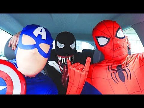 Thumbnail: Superheroes Dancing in Car | Spiderman Venom Batman Flash & Captain America Funny Movie in Real Life