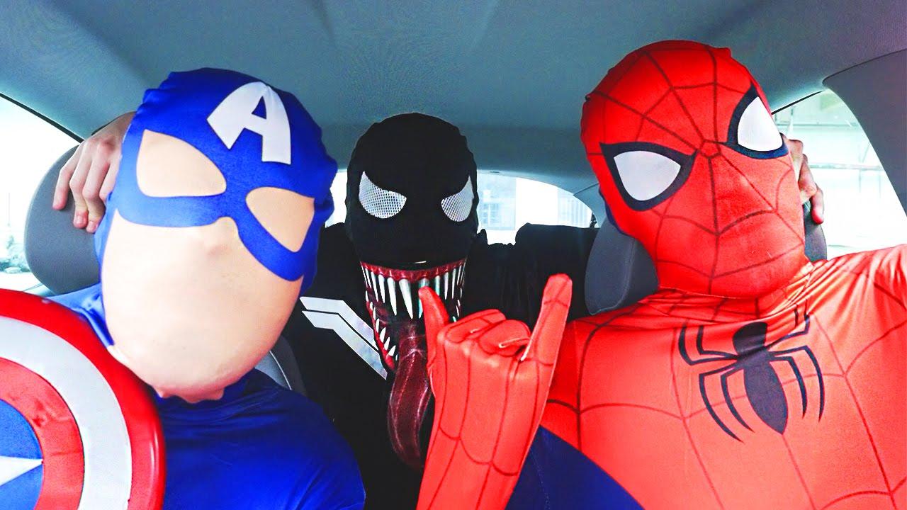 Download Superheroes Dancing in Car | Spiderman Venom Batman Flash & Captain America Funny Movie in Real Life