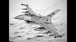 an f16 fighting falcon jet drawing lesson
