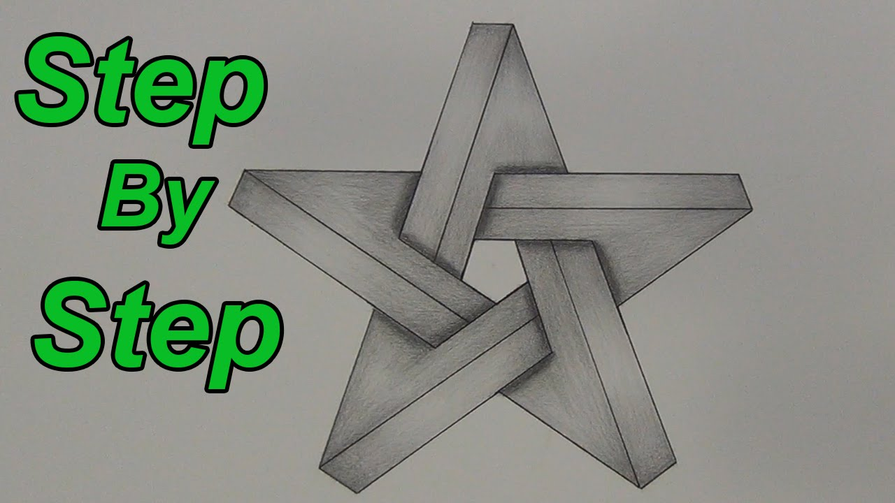 how to draw an impossible star step by step - 3d star - impossible
