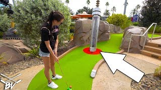 CRAZY ALIEN MINI GOLF AT UNIVERSAL STUDIOS! BLIND SHOT HOLE IN ONE! - HOLLYWOOD DRIVE-IN MINI GOLF!