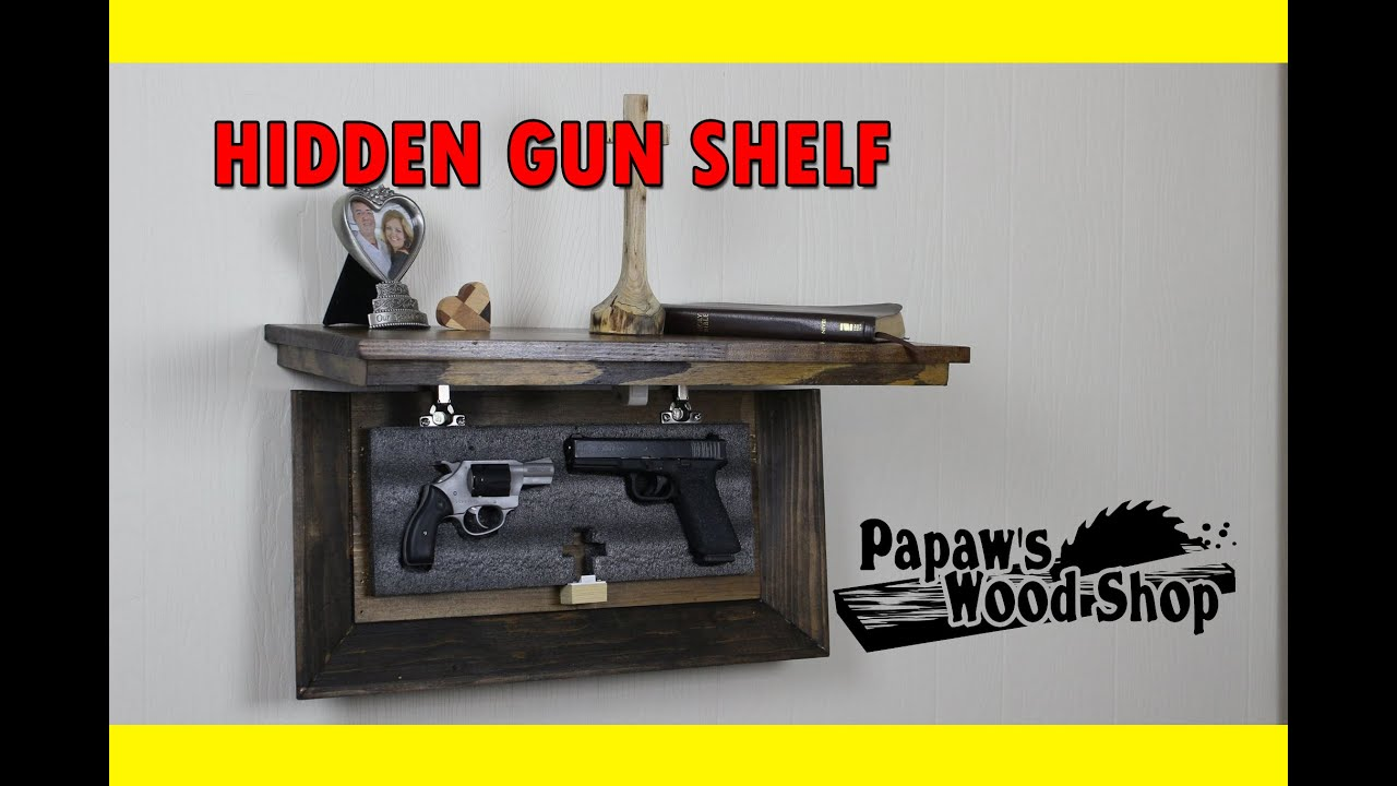 Hidden gun storage shelf youtube for Walk in gun safe plans