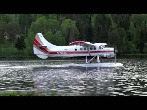 Smooth landing of Air Mont Laurier DHC-3 Otter C-GGSC at Lac Tiberaire