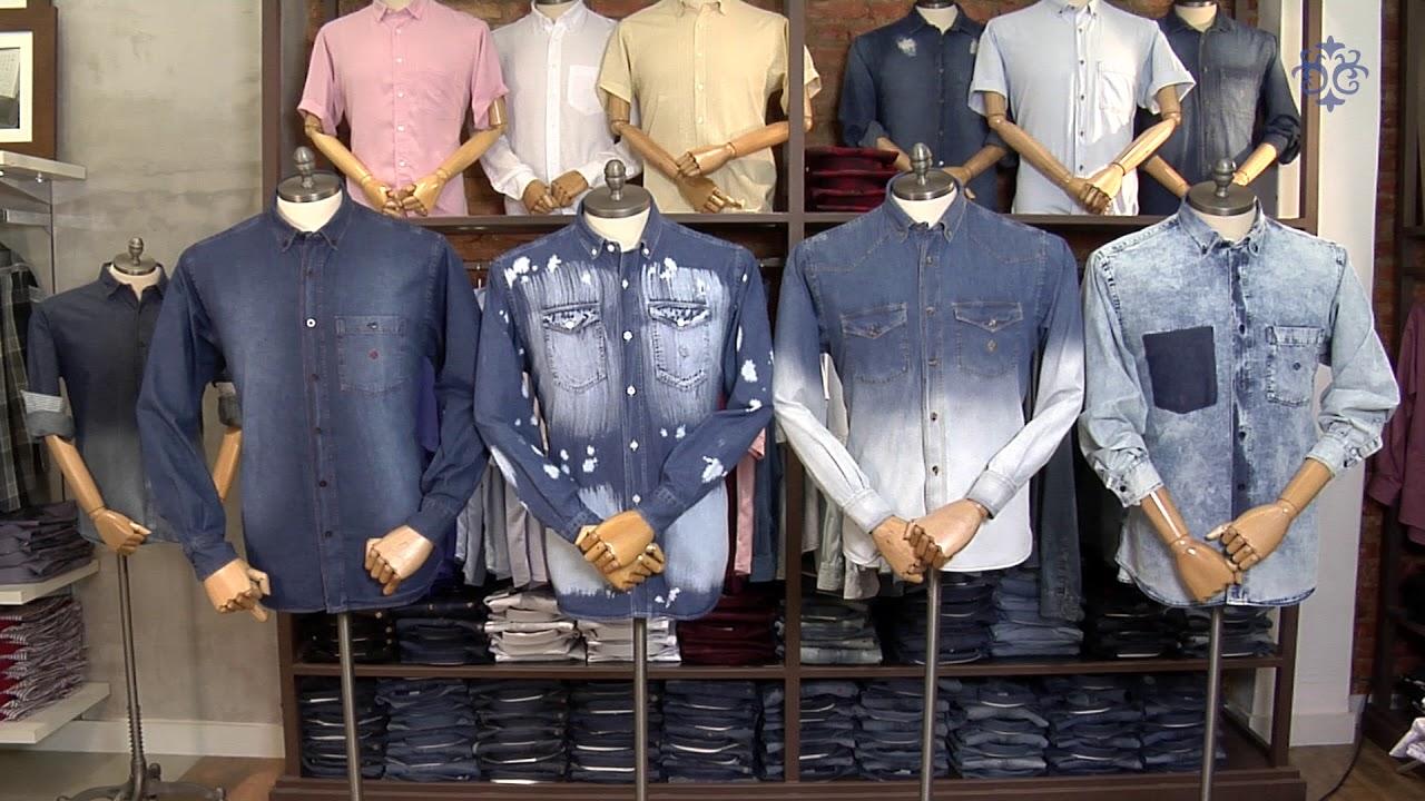 8a8a2d6e74 Camisas Masculinas Jeans Coleção Verão 2018. Camisaria Fascynios
