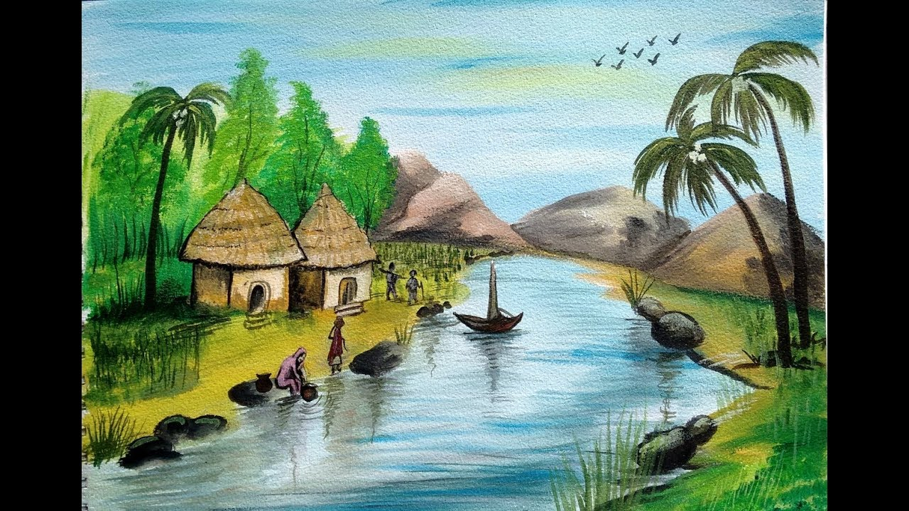 village painting pictures  Village Scenery Painting | Landscape | Acrylic Painting - YouTube