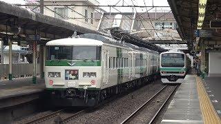 松戸駅に到着する特急「踊り子 131号」185系(OM09編成) 2018年5月12日