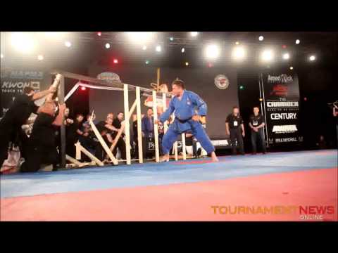 USBA/WBA World Record- John Zurisk- 8~ 2×4″ lengths of lumber with side kicks in 10 seconds- 7/2014