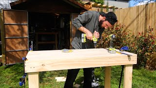 Build a simple workbench for around $60 in less than an hour! This is a great addition to your garage or workshop and can me made