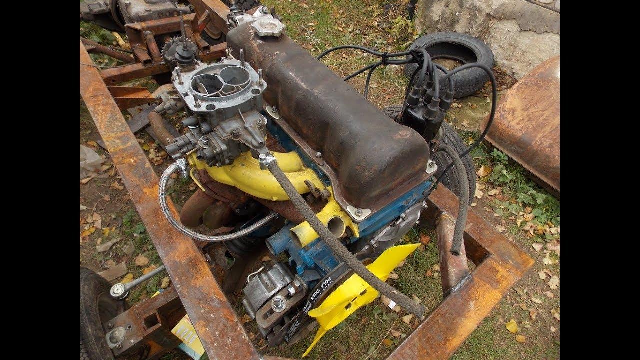 Самодельный трактор.Процесс сборки.Начал укомплектовку двигателя.#35