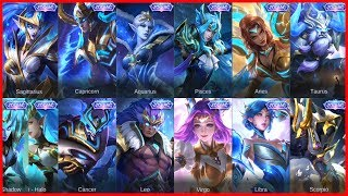 ALL 13 ZODIAC SKINS AND SKILL EFFECTS 😍 MOBILE LEGENDS: BANG BANG