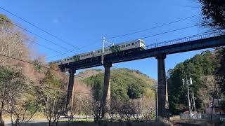 伊豆急行 踊り子号 185系 鉄道橋通過シーン