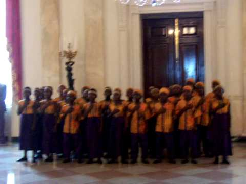 African kids sing national anthem at White House