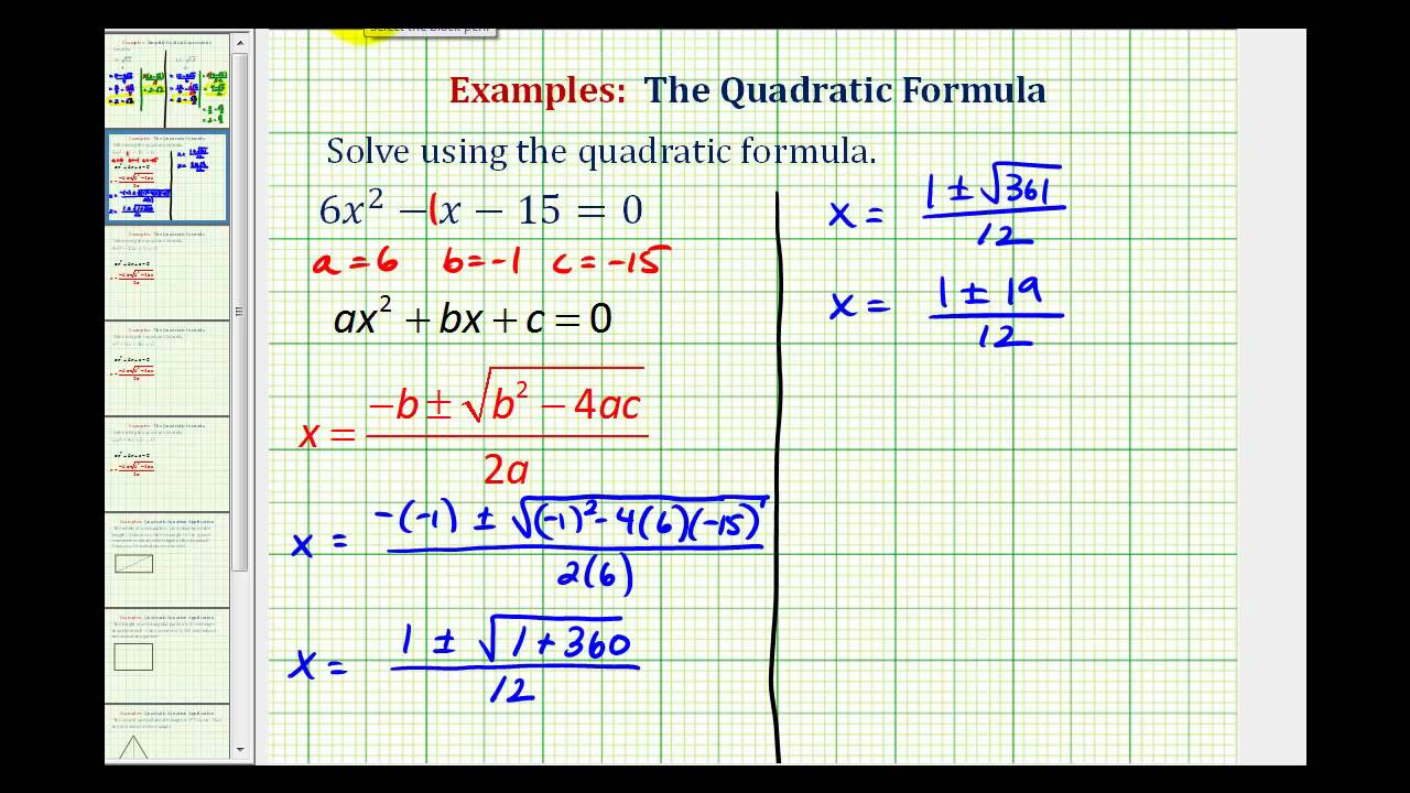 ex quadratic formula two real rational solutions youtube