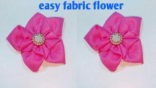 কাপড় দিয়ে ফুল তৈরি How To Make Fabric Flower.Cloth Flower Making. Hand Embroidery Design.Kapda