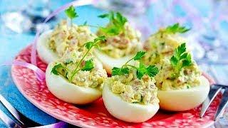 ЛУЧШАЯ ЗАКУСКА Фаршированные яйца с сыром и ветчиной, НОВОГОДНИЕ ЗАКУСКИ, РЕЦЕПТ ЗАКУСКИ ИЗ ЯИЦ, ФАР