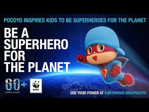 Pocoyo has become a Superhero at earthhour.org 2014