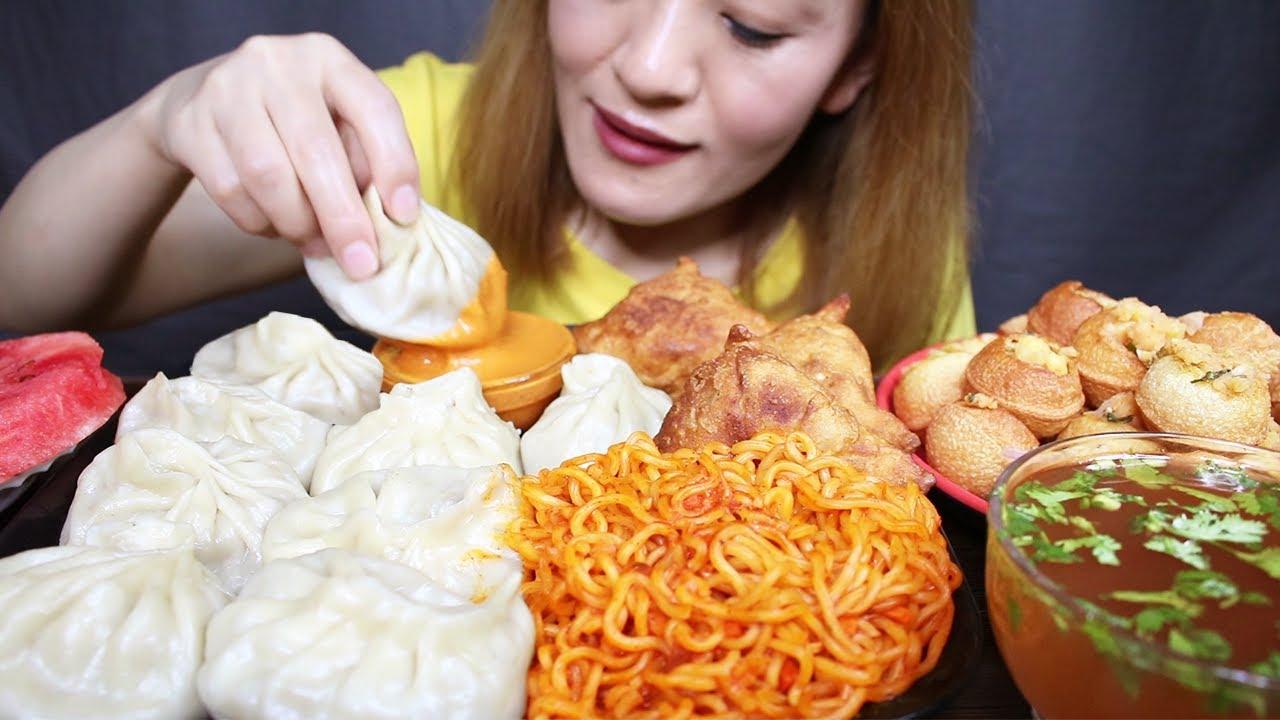 Download ASMR; Big MOMO/Dumplings, Veg Samosa, Panipuri/Golgappa and Spicy Current Noodles #BIGBITES/MUKBANG