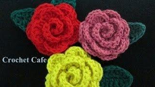 كروشيه وردة مجسمة | كروشيه كافيه | Crochet Cafe