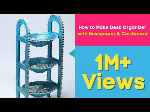 How to Make Desk Organizer with Newspaper & Cardboard   Waste Material Craft, DIY Utility Stand