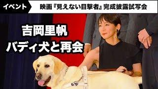 吉岡里帆、共演犬・パルのサプライズ登場に…映画『見えない目撃者』完成披露試写会