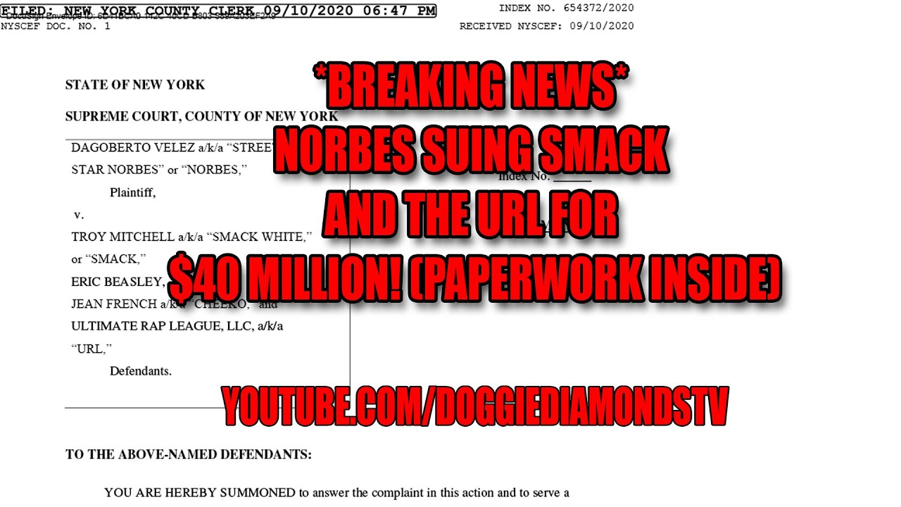 *BREAKING NEWS* Norbes Suing SMACK And The URL For $40 Million! (Paperwork Inside)