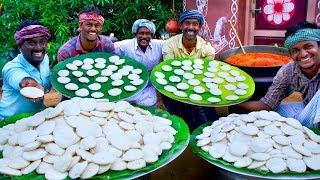 1000 IDLI with MUTTON KULAMBU   Best Combination Village Recipes   1000 Idlis Cooking in Village