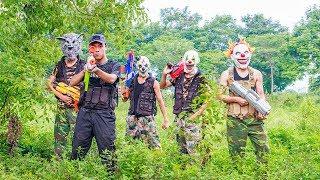 MASK Nerf War : Special Warrior Nerf Guns Fight Leader Criminal Group Mask Monter