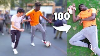CAN I NUTMEG 100 KIDS AT FOOTBALL IN 24 HOURS?! (HUMILIATING Soccer Skills)