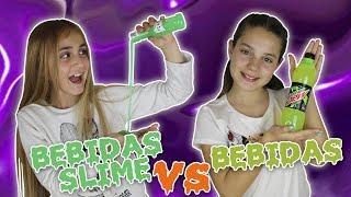 DRINK SLIME vs REAL SLIME Challenge 🍹 BEBIDA de SLIME vs BEBIDA REAL - Silvia Sánchez