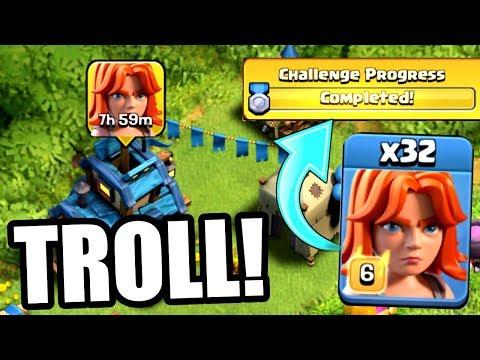 TROLL CLAN GAMES!! - Clash Of Clans - 1 TROOP TROLL CHALLENGE!