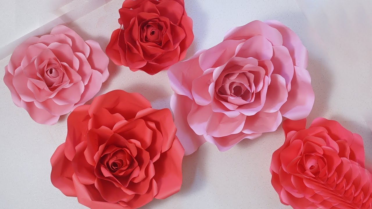How To Make Beautiful And Amazing Big Paper Roses Backdrop Flowers Diycrafts