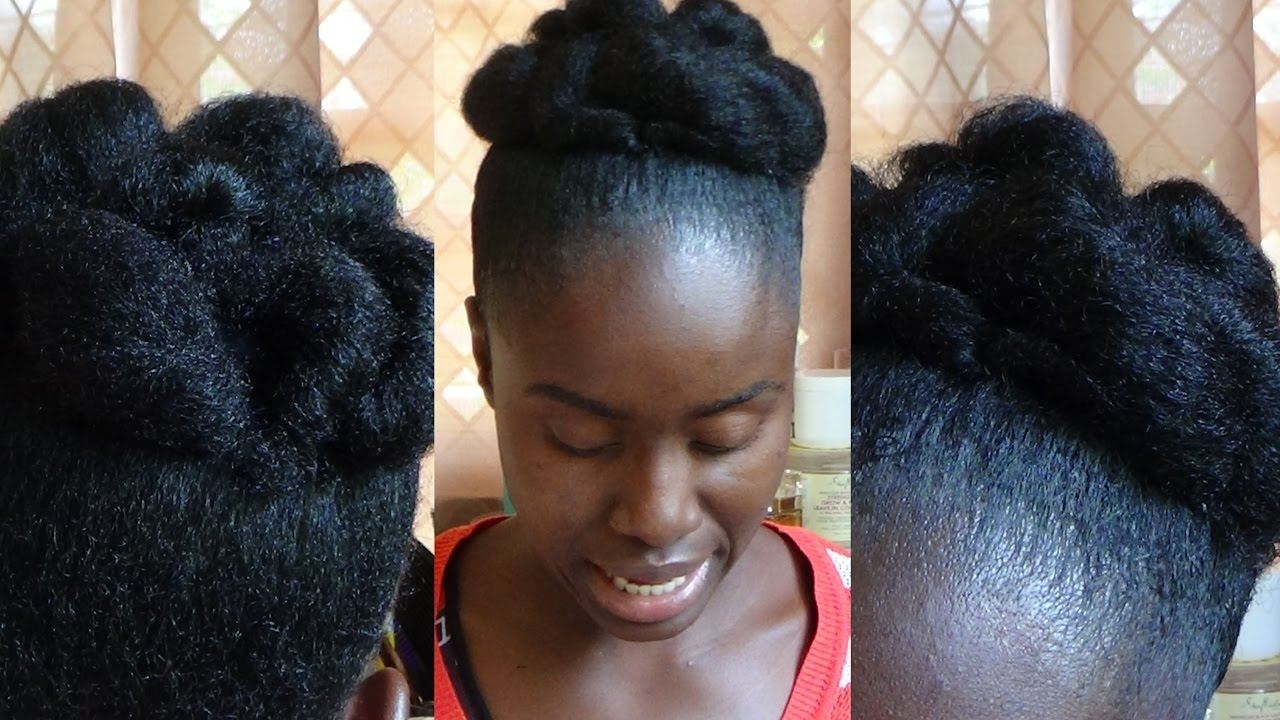 Elegant Faux Bun NATURAL HAIRSTYLE Using Own Hair For