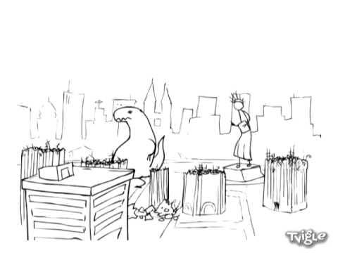 Godzilla vs Statue of Liberty