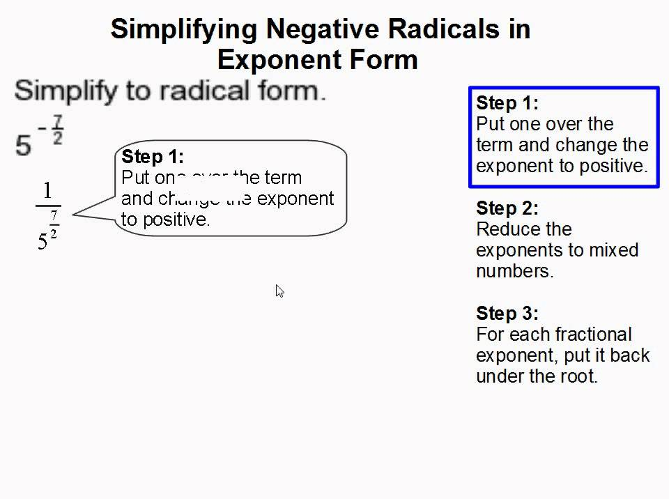 How to Simplify Negative Radicals in Exponent Form - YouTube