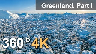 360°, Icebergs of Greenland. Part I. 4К aerial video