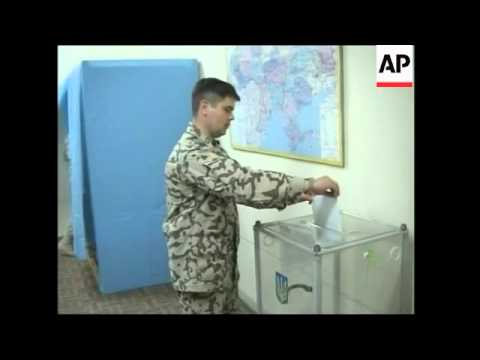Ukrainian soldiers voting at their base in their elections