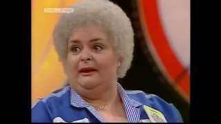 Grotbags throws darts for charity on Bullseye (from 1984)