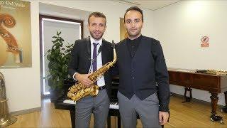 David Hernando Vitores y Sandro' Bakhuashvili en la Biblioteca Musical Víctor Espinós. Conde Duque.