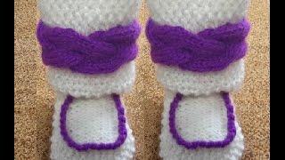1ч-Сапожки-пинетки  теплые детские спицами(Мастер-класс вязания сапожек для годовалова ребенка спицами.Размер-12см.Вяжем отворот с рисунком-коса.Вязан..., 2014-09-18T14:47:48.000Z)