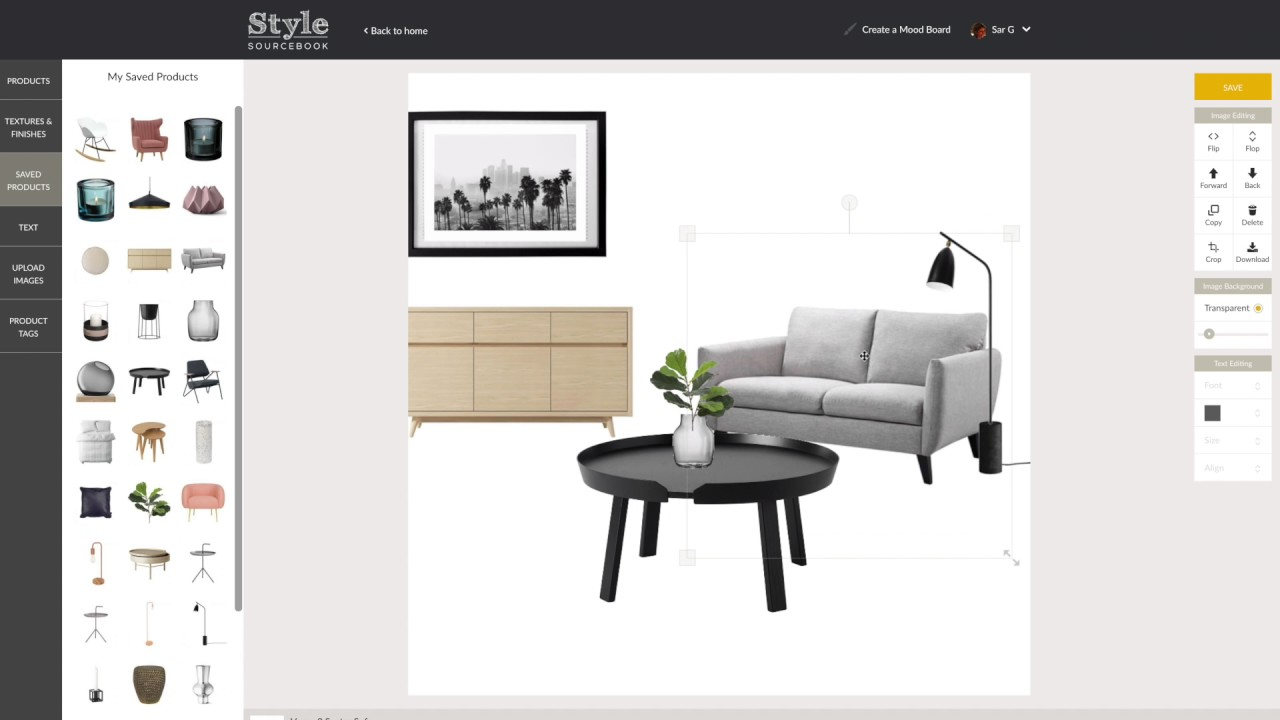 How to create a mood board for interior design style for Interior design web app