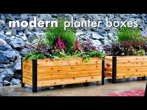 diy-modern-raised-planter-box-//-how-to-build---woodworking