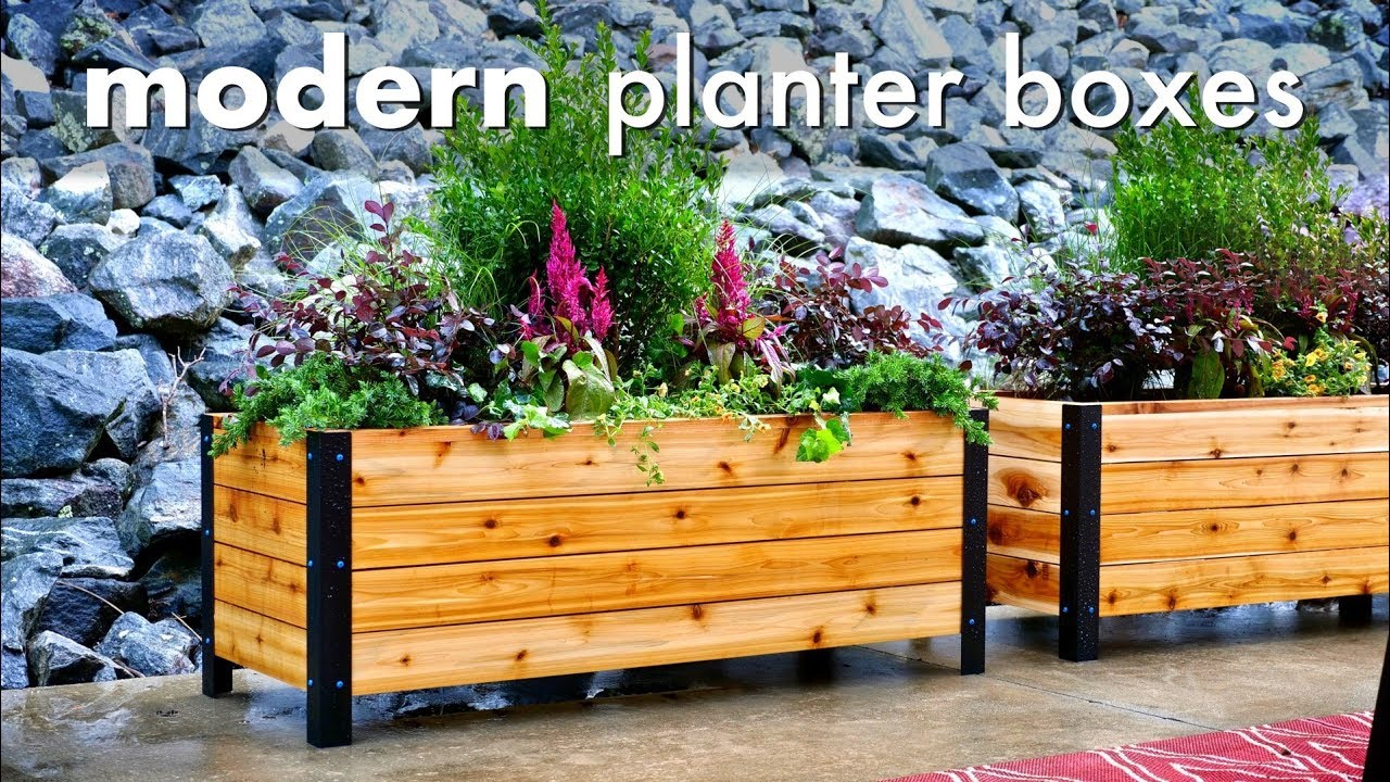 diy modern raised planter box how to build woodworking youtube. Black Bedroom Furniture Sets. Home Design Ideas
