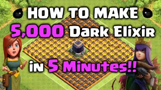 How to Farm 5,000 Dark Elixir in 5 Minutes!! Clash of Clans - DE Farming Strategy