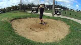 Golf Bunker shot using Sony action cam Super Slow motion 120 FPS